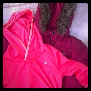 Girls M (8-10) pink hooded coat and athletic top